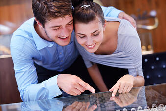 happy young romantic couple in love buy jewelry ring in luxury store-1